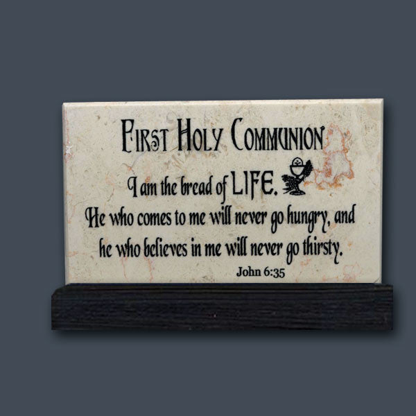 First Holy Communion Prayer Stone - Jerusalem Stone from the Holy Land Stone Company