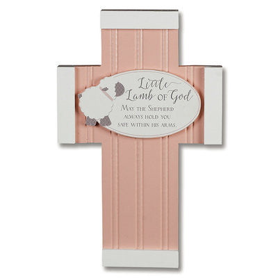 "Little Lamb of God"" Wall Cross — Pink"