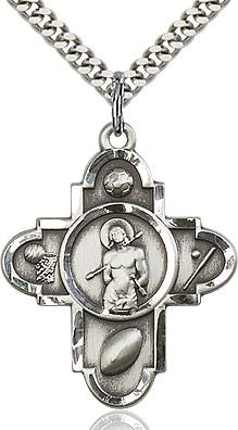 5Way Sport St. Sebastian Pewter Pendant on a 24 inch Stainless Silver Chain