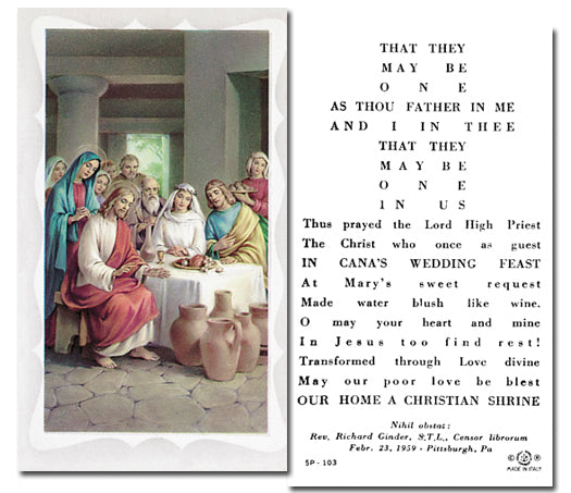 Marriage Blessing Holy Card Laminate