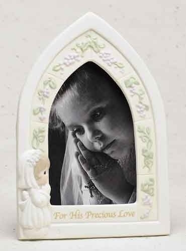 "9""H Precious Moments First Communion Frame Girl Holds 4""x 6"" Photo"