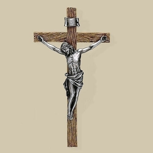 "13.25""H Anitque Silver Crucifix by Joseph's Studio for Roman Inc."
