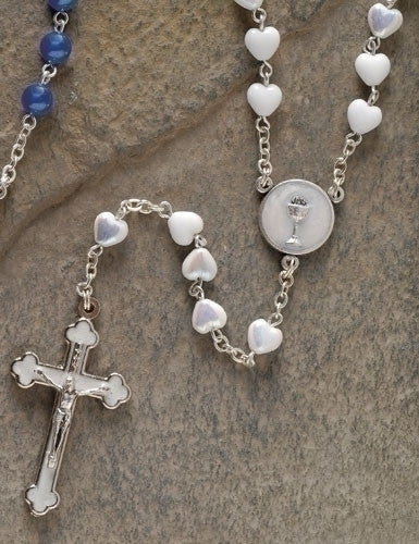 "16"" White First Communion Rosary with Heart Shaped Beads"