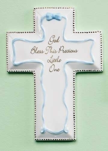 "6""H Blue God Bless This Precious Little One Wall Cross by Roman Inc."