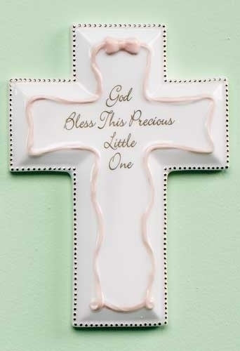 "6""H Pink God Bless This Precious Little One Wall Cross by Roman Inc."