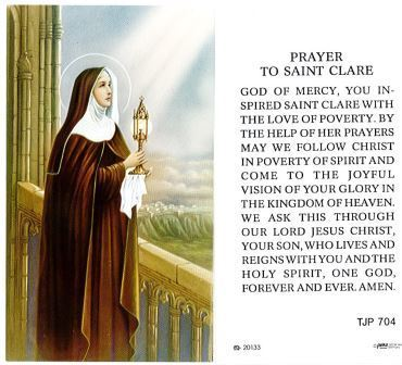 St. Clare Holy Card Laminate