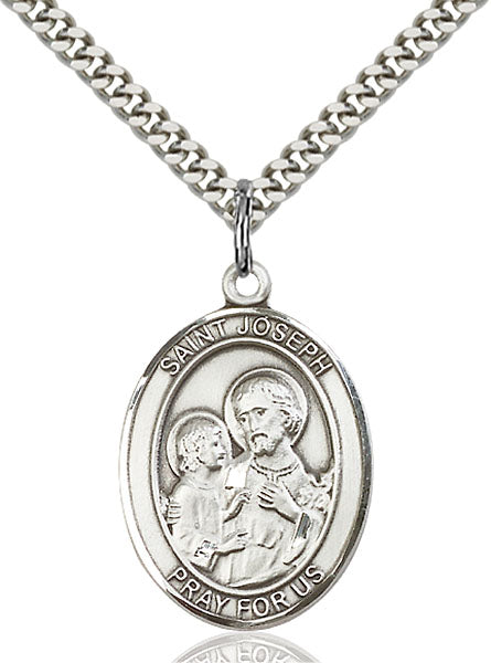 St. Joseph Oval Pewter Medal Necklace with Holy Card