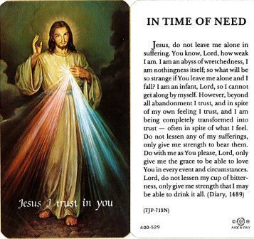 In Time of Need-Divine Mercy Laminate Holy Card