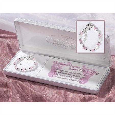 Sterling Silver White and Pink Baby Bracelet