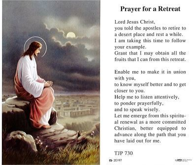 Prayer for a Retreat Holy Card Laminate