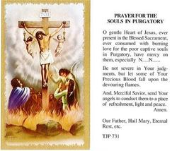 Prayer for the Souls in Purgatory Laminate Holy Card DISCONTINUED