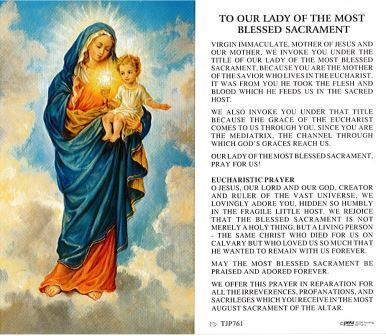 To Our Lady of the Most Blesses Sacrament Holy Card Laminate