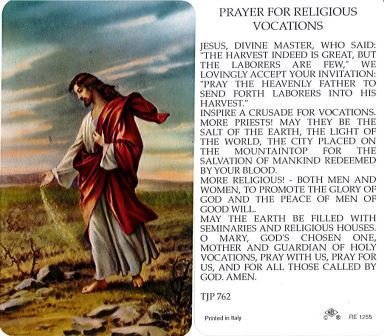 Prayer for Religious Vocations Holy Card Lam DISCONTINUED
