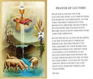 Prayer of Lectors Holy Card Laminate