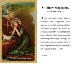 St. Mary Magdalene Holy Card Laminate