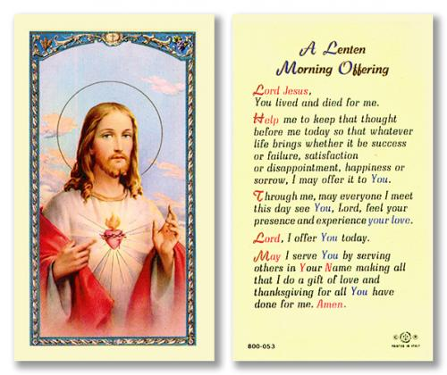 A Lenten Morning Offering Holy Card Laminate