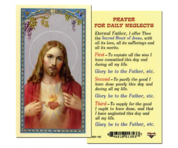 Prayer for Daily Neglect Holy Card Laminate