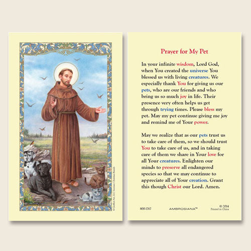 Prayer for My Pet Laminate Holy Card