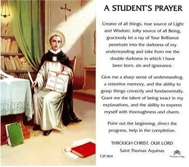 St. Thomas Aquinas Student Prayer Laminate Holy Card