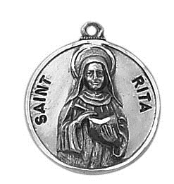 St. Rita Pewter Medal Necklace with Holy Card