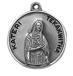 St. Kateri Tekakwitha Pewter Medal Necklace with Holy Card
