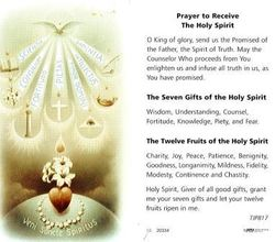 Prayer to Receive the Holy Spirit Holy Card Laminate