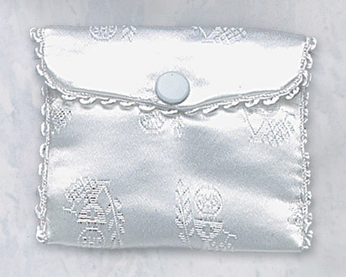 First Communion White Satin Rosary Case