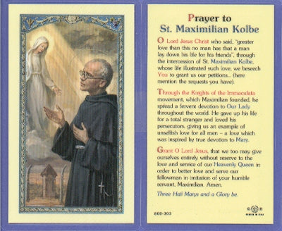 St. Maximilian Kolbe Holy Card Lamainate