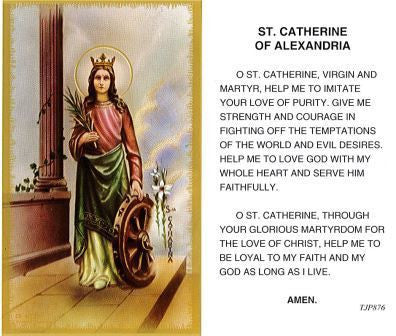 St. Catherine of Alexandria Laminate Holy Card DISCONTINUED