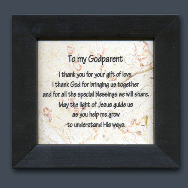 To my Godparent Plaque made of Jerusalem Stone from Holy Land Stone
