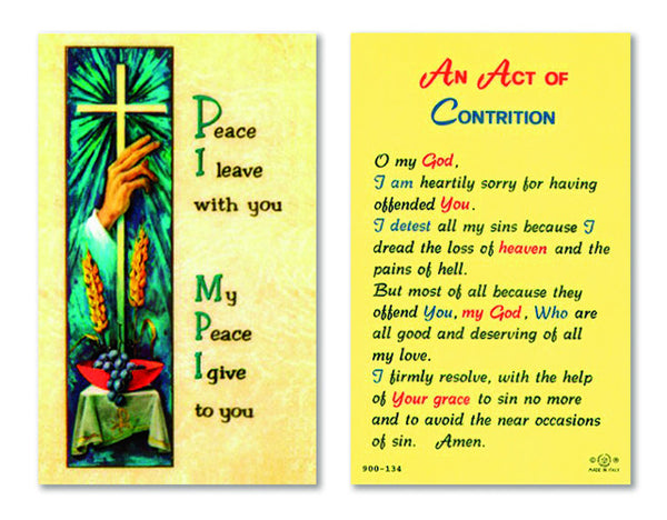 An Act of Contrition Laminate Holy Card