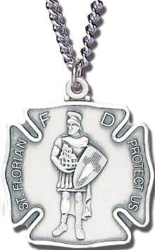 St. Florian Pewter Medal Necklace with Holy Card