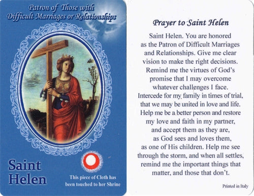 St. Helen Holy Card with Relic