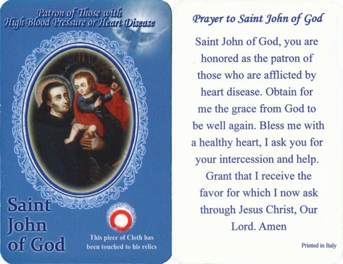 St. John of God Holy Card with Relic