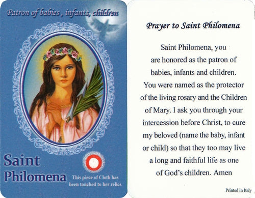 St. Philomena Holy Card with Relic