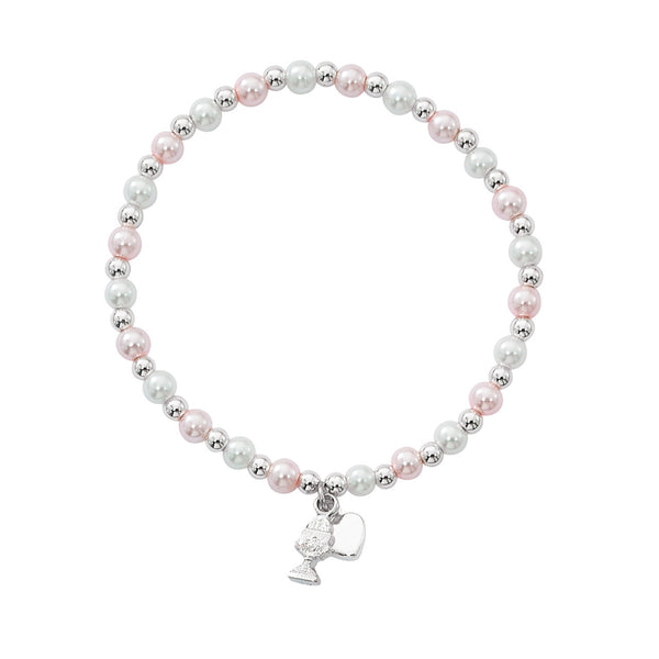 Pink and White Pearl Stretch First Communion Bracelet