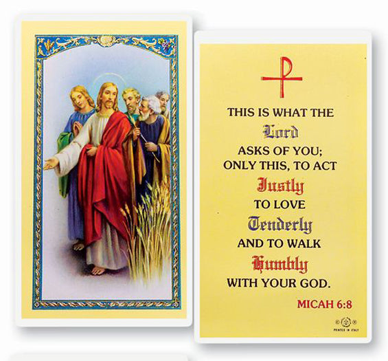 This is What the Lord Ask Holy Card Laminate