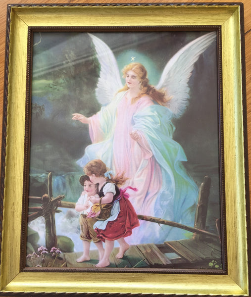 Guardian Angel Crossing  a Bridge Framed Print