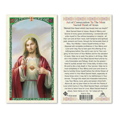 Act of Consecration to the Most Sacred Heart of Jesus Laminate Holy Card