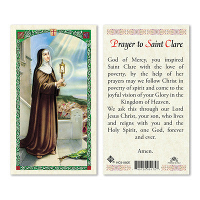 St. Clare Laminate Holy Card