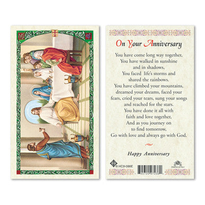 On Your Anniversary Laminate Holy Card