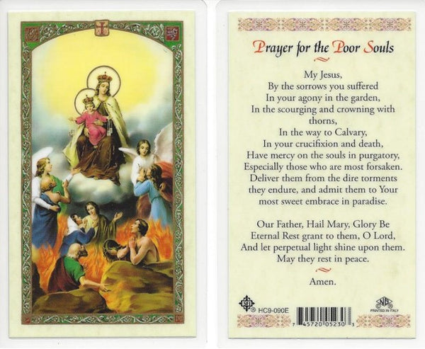 Prayer for the Poor Souls Laminate Holy Card