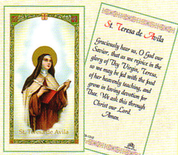 St. Teresa of Avila Holy Card Laminate