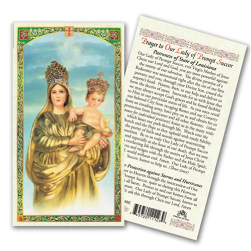 Prayer to Our Lady of Prompt Succor Laminate Holy Card