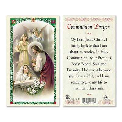 First Communion Laminate Holy Card Girl