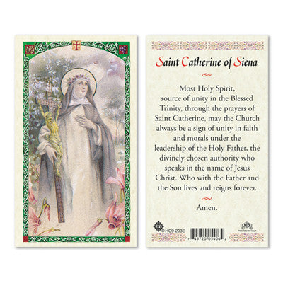 St. Catherine of Siena Laminate Holy Card