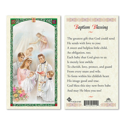 Baptism Blessing Laminate Holy Card