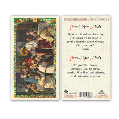 Grace Before Meals Laminate Holy Card