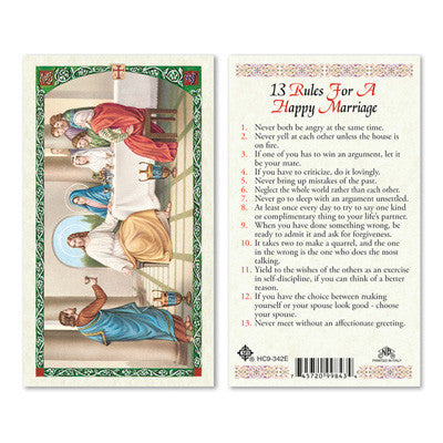 13 Rules for a Happy Marriage Laminate Holy Card