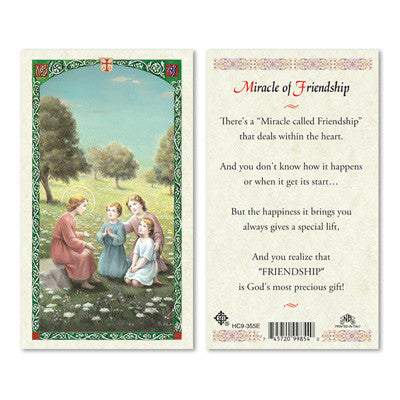 Miracle of Friendship Laminate Holy Card